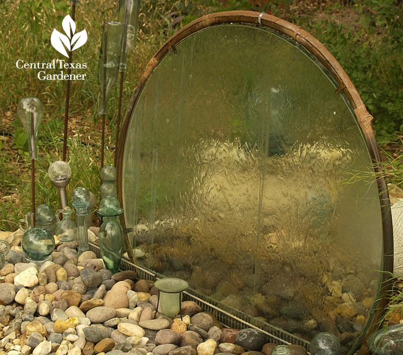 Elayne Lansford's repurposed glass table water feature