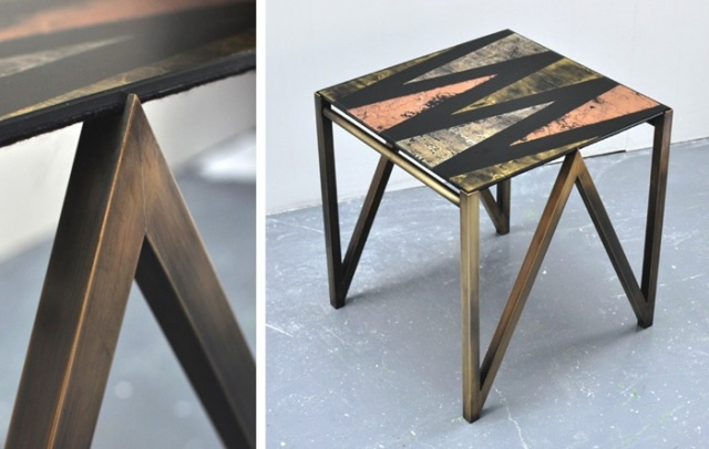 Side table with verre églomisé glass top in Zama (gold, copper & silver) and aged brass base