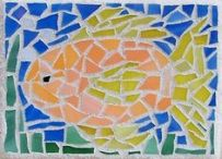 ACEO ORIGINAL Goldfish Animal Fish Mosaic Tile Stained Glass Pet Art LaRusc http://www.pinterest.com/pin/206250857906897002/