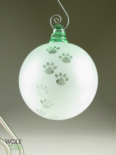 Wolf Glass - Recycled Glass Bottle Ornament Suncatcher Blown ECO Dog Lover Pet Lover Paw Print http://www.pinterest.com/pin/202943526927980742/
